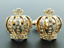 Gold & Crystal Crown Cufflinks FOR THE KING!!