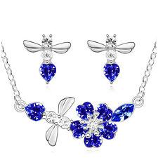 Argento & Royal Blu Scuro Angelo gioielli set orecchini pendenti collana ciondolo s641