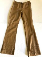 Filippa Taupe Leather Cut Out Pants Size 4