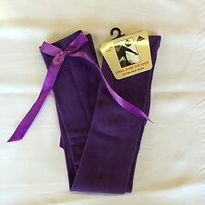 Ladies Girls Long Over The Knee PURPLE Socks With PURPLE Satin Bows