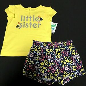 Child of Mine by Carter's Baby Girl's comfy cute T-Shirt & Shorts Outfit 2 pc NW