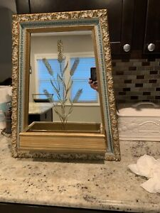Vintage Wall Mount Framed Etched Mirror with Shelf