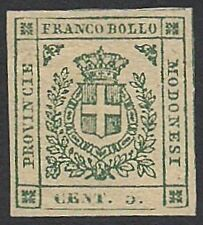 MODENA GOVERNO PROVVISORIO 1859 - 5 c. NUOVO n. 12 EM. DIENA / E. DIENA € 2.400