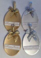 PK 4 Gold et Silver heureux oeufs de Pâques pour artisanat