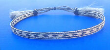 Western Decor Cowboy HAT BAND 5 Strand Silver/Blk Woven Horsehair With Tassels