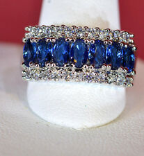 Women's Oval Cut Sapphire Blue Ring / Band Silver and 18K White Gold SALE