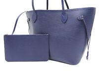 LOUIS VUITTON Neverfull MM Shoulder Tote Bag Pouch Epi Indigo Blue M40885 V-1049