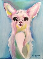 """Oil Painting """"CHIHUAHUA"""", OIL ON CANVAS by Guy Foster 9""""x12"""" Stretched"""
