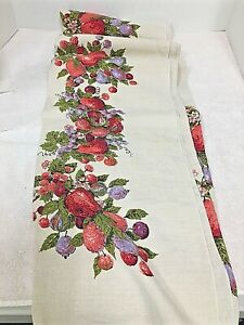 Vintage Tablecloth with Fruit Pears Grapes Cherries 5.5ftx4ft