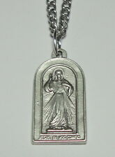 "Divine Mercy of Jesus & St Faustina Holy Medal on 24"" Stainless Steel Chain"