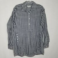 Madewell Womens Gingham Popover Button Shirt Long Sleeve Blue/White Size M M329P