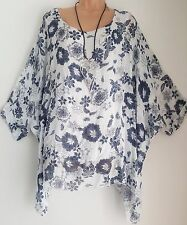 New Italian Lagenlook multi White floral Loose Kaftan  Tunic Top  uk 18 20 22 24