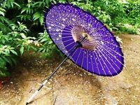 Japanese paper umbrella WAGASA purple handcraft bamboo-frame from japan
