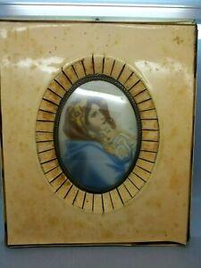 Superb Mid 19th C Miniature W/Colour of the Madonna & Child Signed Veber c1850