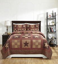 "**3 Piece QUEEN ""BRADFORD STAR"" Quilted Bedding SET ~ Country, Primitive**"
