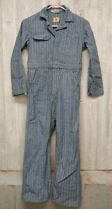 Vintage Striped Denim Blue Bell Child's Size 12 Workwear Coveralls Jumpsuit Boys