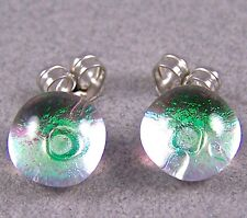 "DICHROIC Post EARRINGS 1/4"" 7mm Tiny Clear Emerald Teal Green Fused GLASS STUDS"