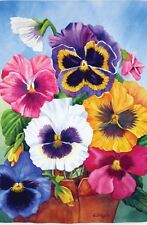 NEW EVERGREEN FLORAL GARDEN FLAG PANSY POT BEAUTIFUL COLORFUL PANSIES 12.5 X 18