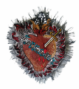 Milagro Sacred Heart Vintage Handmade Sew-On Embroidered Patch