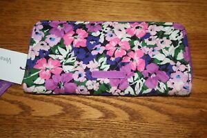 Vera Bradley Flower Garden Accordion Wallet Zip Around floral pink Clutch New