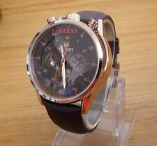 Mens Rare Retro Design Raised Asymetric Bullhead Style Chrono Rose-Gold Watch