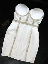 BEBE WHITE BEADED BUSTIER PONTE DRESS NWT NEW $169 SMALL S