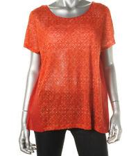 NEW Womens Lauren Ralph Lauren Orange Linen Printed Casual Top S