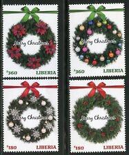 LIBERIA 2016 CHRISTMAS WREATHS SET OF FOUR MINT NH