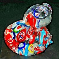 Millefiori Murano Glass FROG Paperweight Hand Blown Mainly Reds and Blues