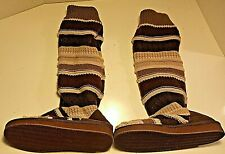 Muk Luks Women's Tall Knit Sweater Slippers Boots S (5-6) Faux Fur Lining Suede