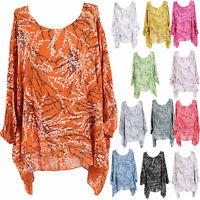 Ladies Italian Lagenlook Tropical Print Batwing Cotton Top Women Tunic Plus Size