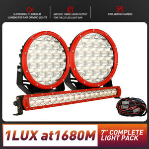 "Pair Spotlight LED Driving Lights 7inch+ +22"" Light Bar Combo Slim Line OSRAM"