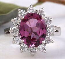 4.65 Carat Natural Pink Tourmaline and Diamond 14K Solid White Gold Ring