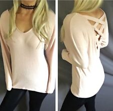 Criss Cross Back Band Detail Long Sleeve Scoop V-Neck Fuzzy Ribbed Sweater Top