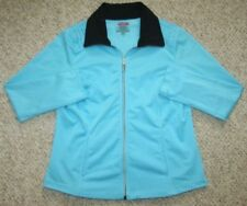 Teez-Her Active Jacket Coat Blue Black Women's Large Exercise Athletic Polyester