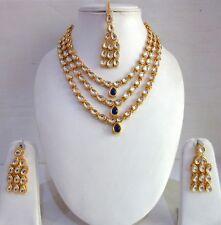 Indian Traditional Fashion Gold Tone Kundan Bridal Wedding Bollywood Jewelry Set