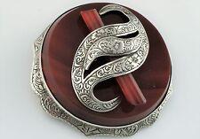 Plata Fina antigua victoriana Antique Victorian Scottish Ágata Broche/Pin