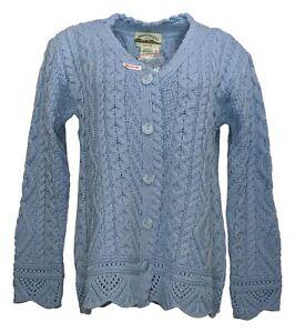 Aran Craft Women's Sweater Sz XS Merino Wool Scalloped Cardigan Blue A283877
