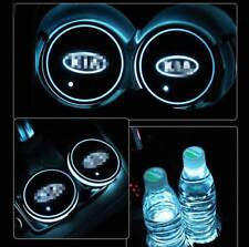 2Pcs Colorful LED Car Cup Bottle Mat Auto Atmosphere Light 2X Pad for Kia Motors