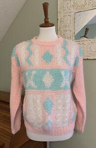 Vintage Fairy Kei Kawaii 80s Sweater Pastel 1980s Pink Teal Sz Medium