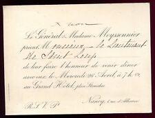 Bourgeoisie.Noblesse.carte d'invitation. Nancy. le Général Meyssonnier et Madame