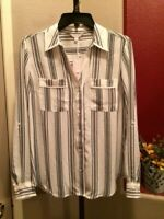 Candie's Women's Sz S Long Sleeve Striped with Pockets Button Down Blouse Top