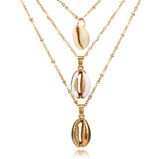 3Pc Multi-layer Bohemia Statement Ocean Conch Shell Pendant Charm Chain Necklace