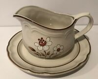 Vintage Cumberland Stoneware Mayblossom Gravy Boat And Saucer. Made In Japan