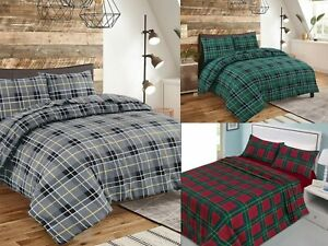 Thermal Tartan Check Flannel Duvet Cover Set, Fitted/Flat Sheet Set 100% Cotton