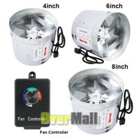 "Hydroponic 4'' 6"" 8''Inline Duct Booster Fan Exhaust Blower Grow Tent Controller"