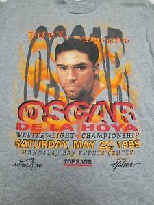 VTG 90s Oscar De La Hoya Boxing Shirt Mens Size Large Single Stitch Rap Tee