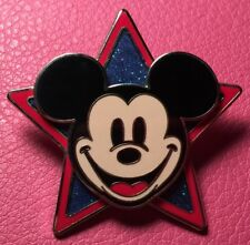 DISNEY PIN - MICKEY MOUSE Smiling Face Head on Red and Blue Star American