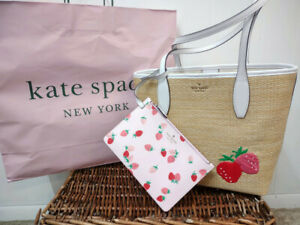 Kate Spade NWT Picnic in the Park Strawberry Leather Embroidered Strawberry Tote