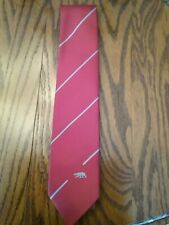 Vtg Herkules Red Stripped Tie With Polar Bear Emblem Made In Norway Evc